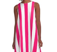 Bright Fluorescent Pink Neon and White Large Vertical Cabana Tent Stripe A-Line Dress