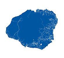 Kauai Map - Deep Blue Photographic Print