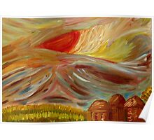 Abstract Impressionist Sky at Sunset Poster