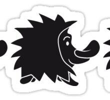 schwarz stehender süßer kleiner niedlicher igel  Sticker
