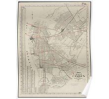 Vintage Map of Camden NJ (1921) Poster