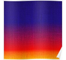Natural Woven Ombre Shaded Tropical Sunset Colors Orange Red Royal Blue Burlap Sack Cloth Poster