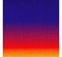 Natural Woven Ombre Shaded Tropical Sunset Colors Orange Red Royal Blue Burlap Sack Cloth Photographic Print