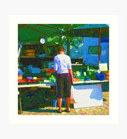 RainbowConfetti Farmers Market Shopper Art Print
