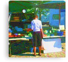 RainbowConfetti Farmers Market Shopper Metal Print