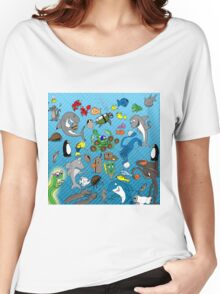 Out to Lunch Sea Animals Collection Women's Relaxed Fit T-Shirt