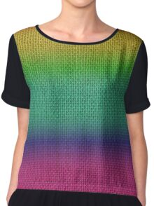 Natural Woven Ombre Shaded  Bright Rainbow Colors Burlap Sack Cloth Chiffon Top