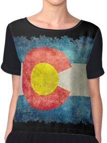 Flag of Colorado in vintage retro style Chiffon Top
