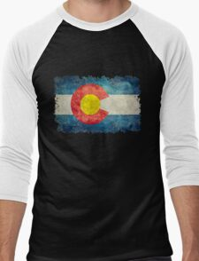 Flag of Colorado in vintage retro style Men's Baseball ¾ T-Shirt