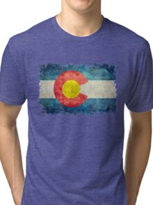 Flag of Colorado in vintage retro style Tri-blend T-Shirt