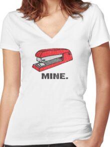 Vintage Red Stapler Women's Fitted V-Neck T-Shirt