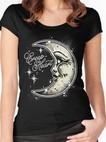 Happy Moon Creep Heart Women's Fitted Scoop T-Shirt