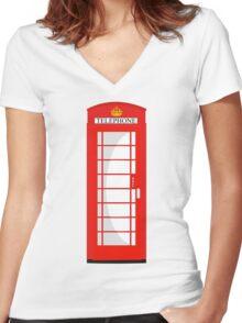 London Telephone 2 Women's Fitted V-Neck T-Shirt