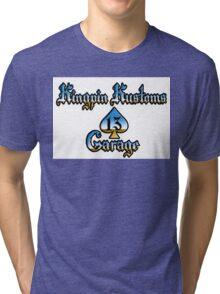 Kingpin Kustoms Garage chrome design Tri-blend T-Shirt