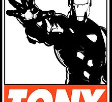 Iron Man Tony Obey Design by SquallAndSeifer