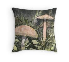 Mushroom Village Throw Pillow