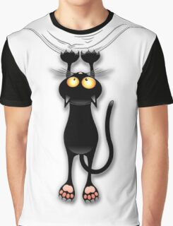 Fun Black Cat Falling Down Graphic T-Shirt