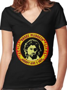 Snake Plissken (doesn't give a shit) Colour Women's Fitted V-Neck T-Shirt