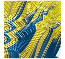 Blue Yellow Landscape Fine Fractal Art Poster