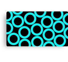 Black - Cyan Rings Canvas Print