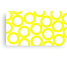 White - Yellow Rings Canvas Print