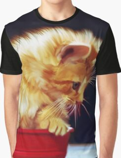 Cat On Red Tin Graphic T-Shirt