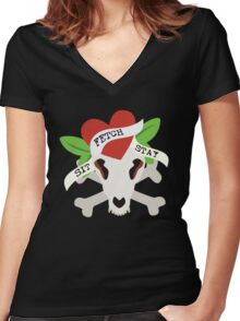 Sit, Fetch, Stay Women's Fitted V-Neck T-Shirt