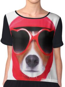 Dog Wearing Heart Red Glasses & Red Veil Chiffon Top