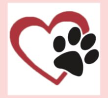 Dog Paw  LOVE heart Red & Black One Piece - Long Sleeve
