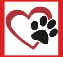 Dog Paw  LOVE heart Red & Black Kids Tee