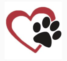 Dog Paw  LOVE heart Red & Black One Piece - Short Sleeve