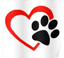 Dog Paw  LOVE heart Red & Black Poster