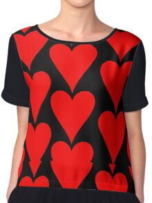 Black - Red Hearts Chiffon Top