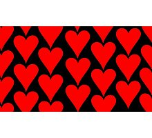Black - Red Hearts Photographic Print