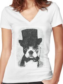 Cute Vintage Dog Wearing Glasses Women's Fitted V-Neck T-Shirt