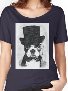 Cute Vintage Dog Wearing Glasses Women's Relaxed Fit T-Shirt