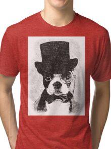 Cute Vintage Dog Wearing Glasses Tri-blend T-Shirt
