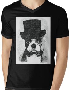 Cute Vintage Dog Wearing Glasses Mens V-Neck T-Shirt