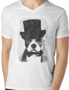 Cute Vintage Dog Wearing Glasses Mens V-Neck T-Shirt