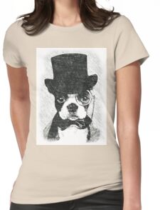Cute Vintage Dog Wearing Glasses Womens Fitted T-Shirt