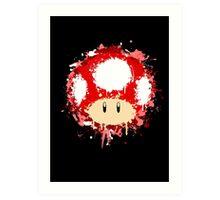 Splash Paint Super Mario Mushroom Art Print