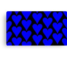 Black - Blue Hearts Canvas Print