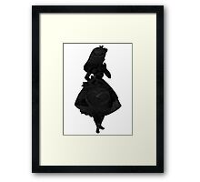 Alice in Wonderland , Black Picture Silhouette Framed Print