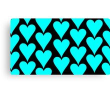 Black - Cyan Hearts Canvas Print