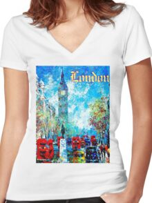 """""""LONDON ABSTRACT"""" Travel and Tourism Print Women's Fitted V-Neck T-Shirt"""