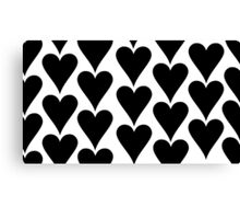 White - Black Hearts Canvas Print