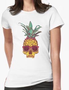 Pineapple Skull wearing sunglasses Womens Fitted T-Shirt