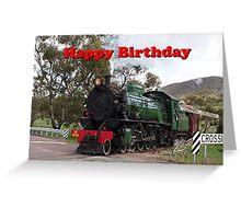 Happy Birthday Steam Train Locomotive 2 Greeting Card