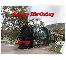 Happy Birthday Steam Train Locomotive 2 Poster