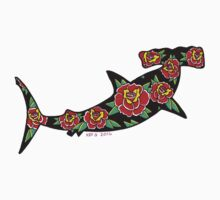 Hammerhead with Roses One Piece - Long Sleeve